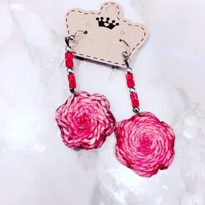 Pink Floral Yarn Earrings
